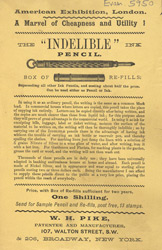 Advert for WH Pike's indelible ink pencil
